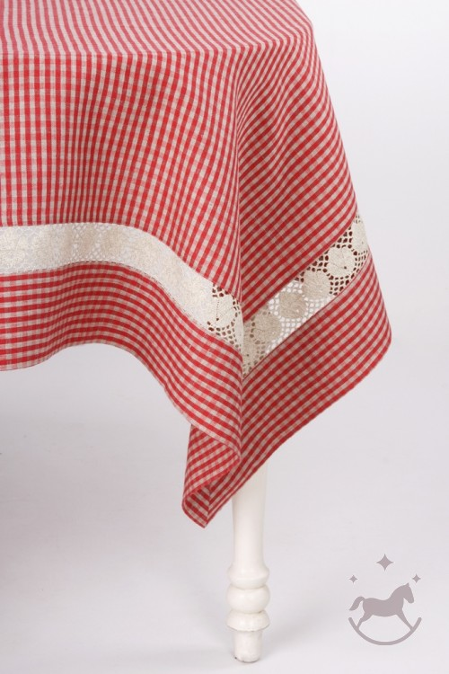 Linen Red Checkered Tablecloth With Lace