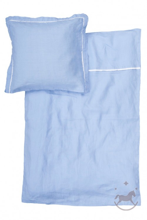 Washed linen baby beding set, BLUE