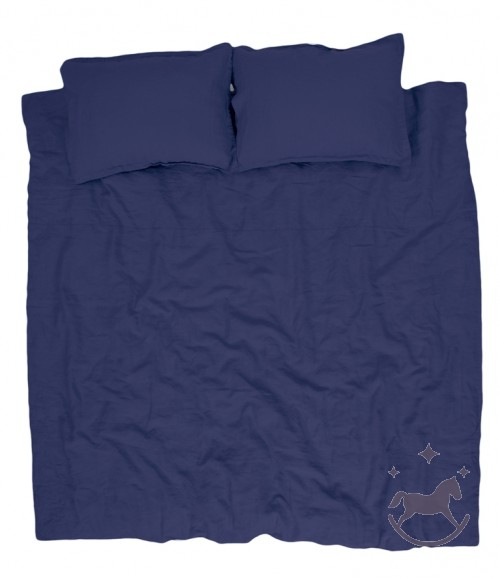 Washed linen bedding, blue