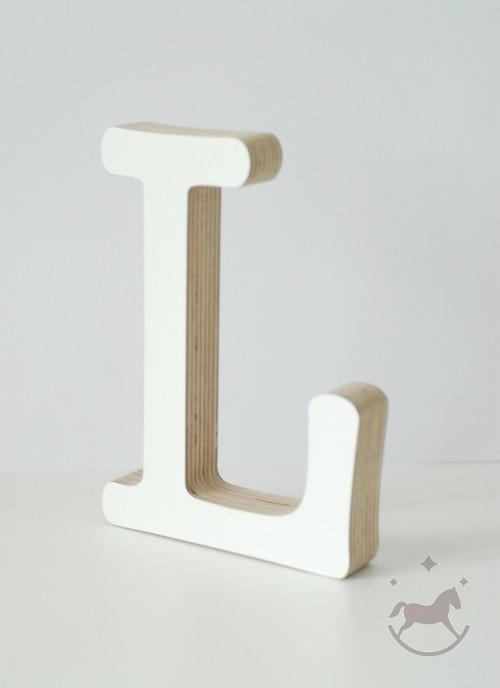 Wooden Letter L, white
