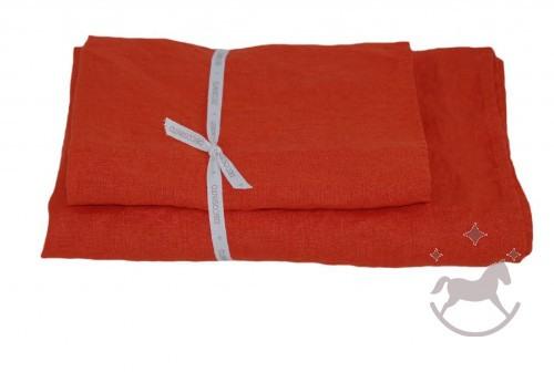 Set of 2 Linen Bath Towels, Orange red