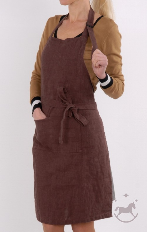 Washed Linen apron, brown