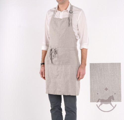 Washed Linen Apron, grey
