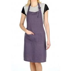 Washed Linen Apron, purple