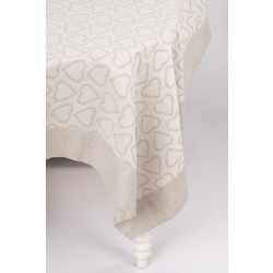 Linen Tablecloth With Hearts