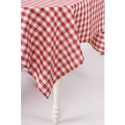 Linen Red Checkered Tablecloth Merry
