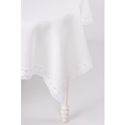 White Linen Tablecloth With Lace