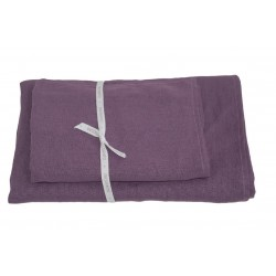 Set of 2 Linen Bath Towels, Purple