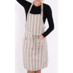 Washed Linen apron, multistripe