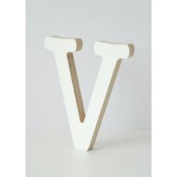 Wooden Letter V, white