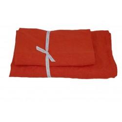 Set of 2 Linen Bath Towels, Orange red
