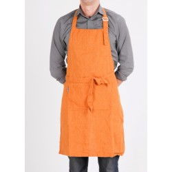 Washed Linen apron, orange