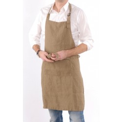 Washed Linen apron, sand