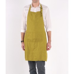 Washed Linen Apron, green