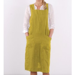 Washed Linen apron, lemon