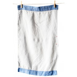 Handmade Linen Tea Towel, blue