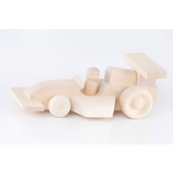 Natural Wooden Racing Car F1