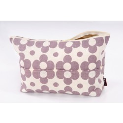 Linen cosmetic bag with chamomiles, grey